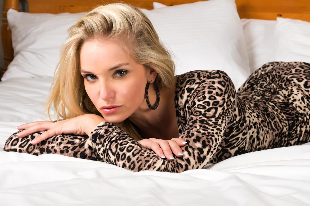Woman wearing a leopard print dress