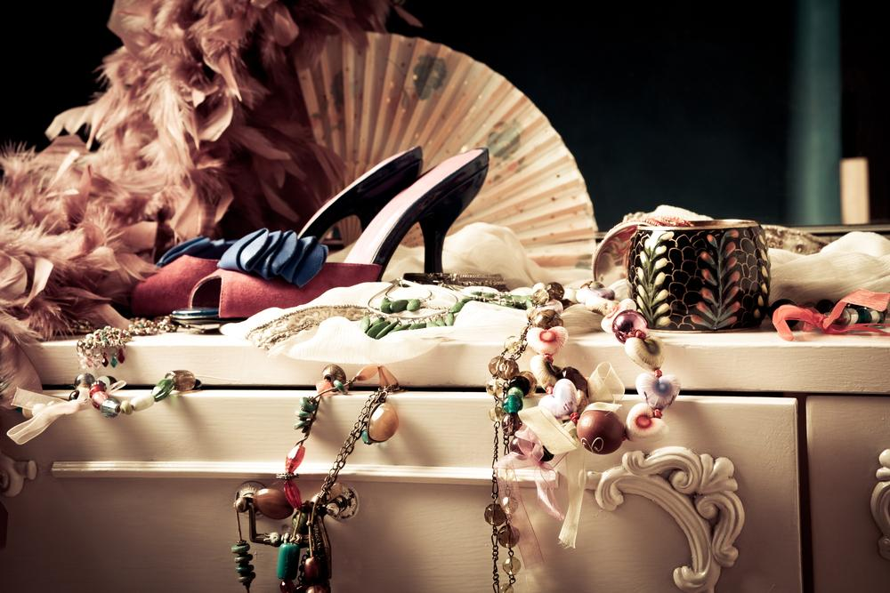 Fashion accessories on a woman's dressing table.