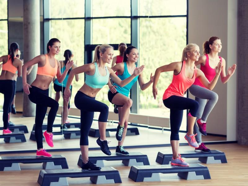 Women in an aerobics class.