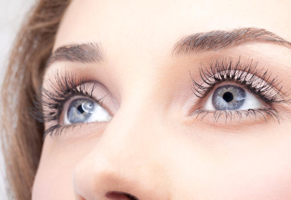 Woman wearing eyelash extensions.