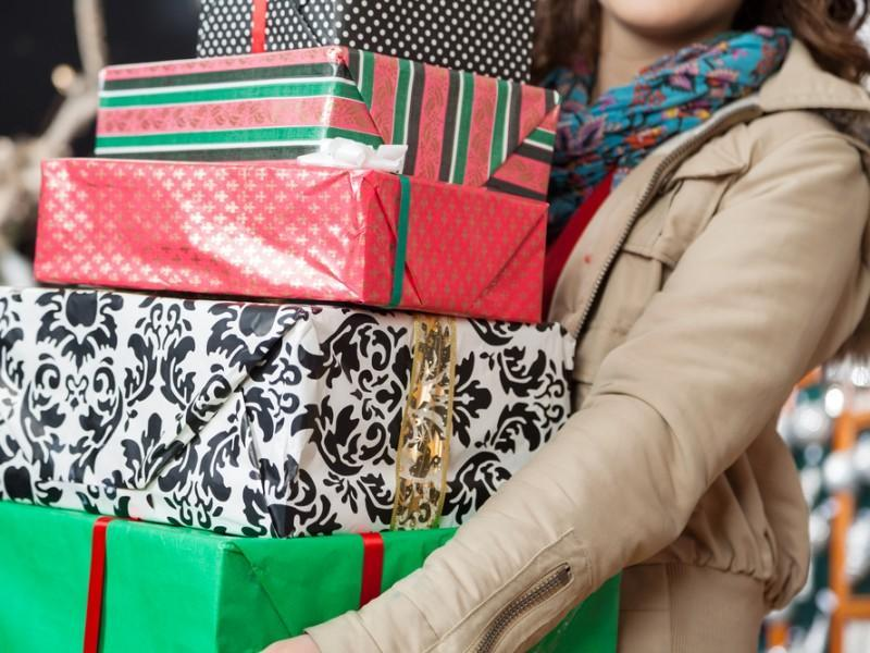 Woman buying gifts for Christmas