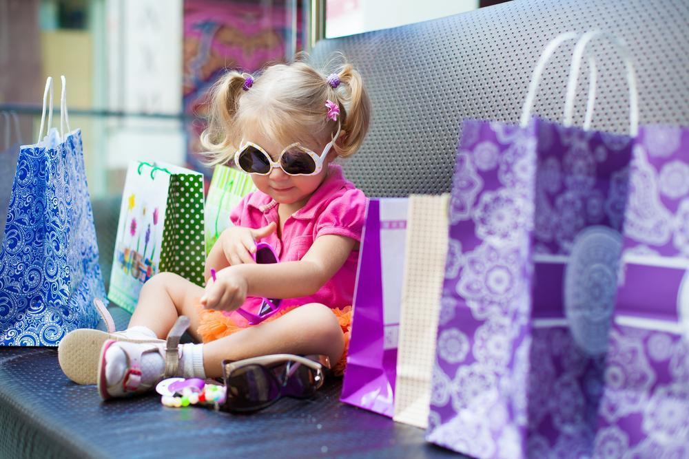 Toddler shopping in a store
