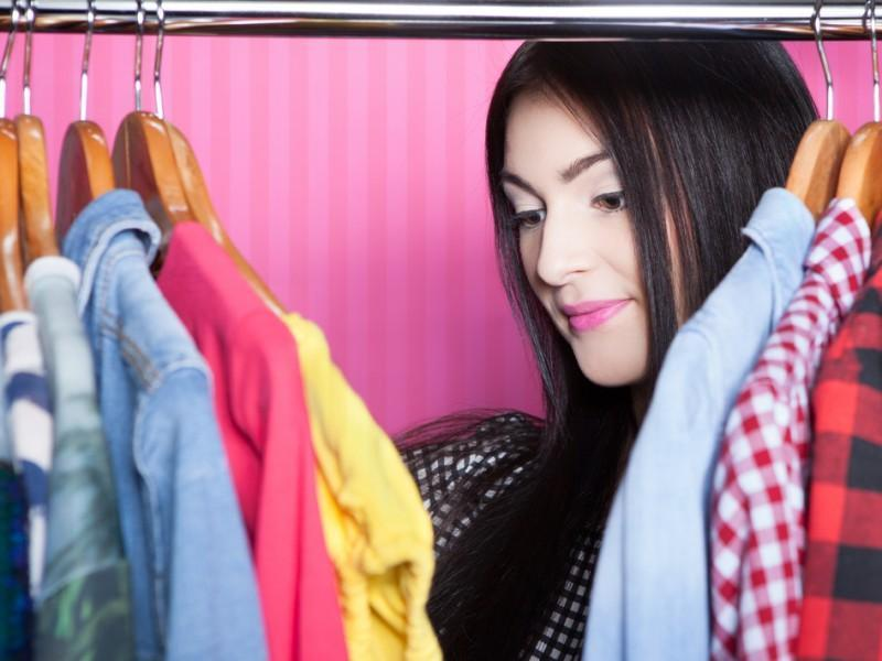 Woman cleaning her wardrobe