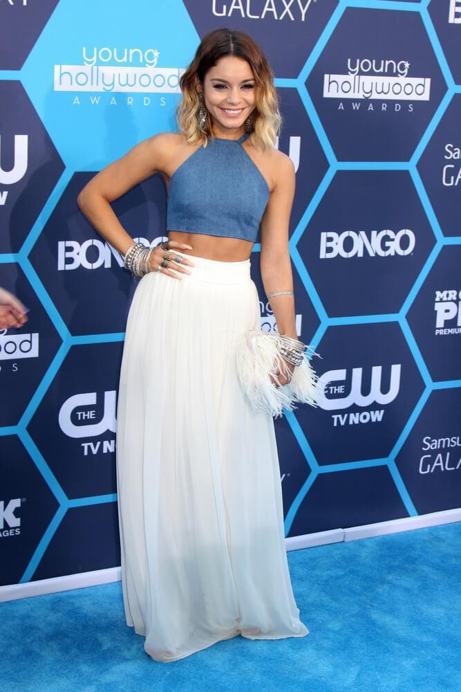 vanessa hudgens in cropped blue halter