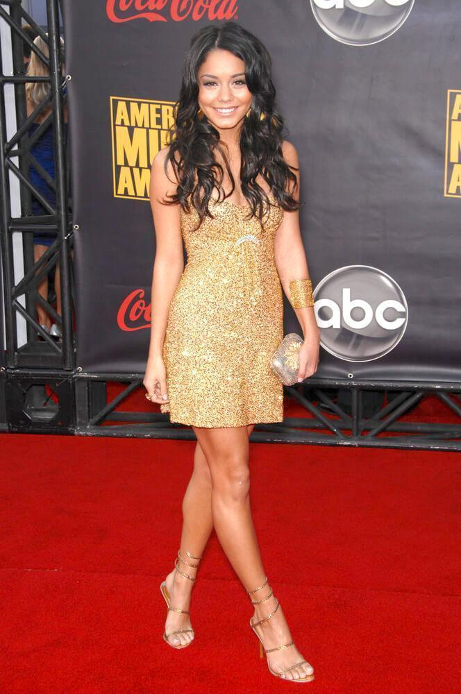 vanessa hudgens in gold sparkle dress
