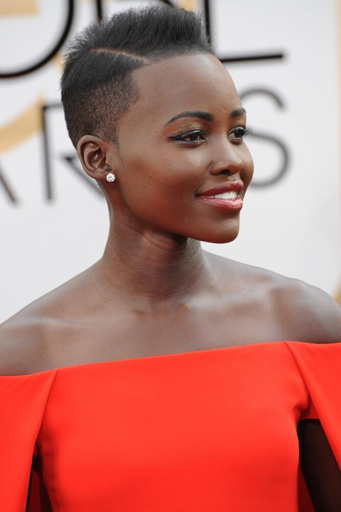 LOS ANGELES, CA - JANUARY 12, 2014: Lupita Nyong'o at the 71st Annual Golden Globe Awards at the Beverly Hilton Hotel.