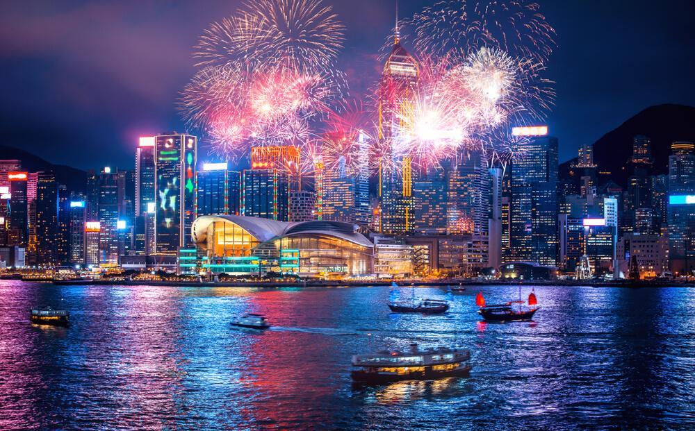 New year fireworks at the harbour in Hong Kong