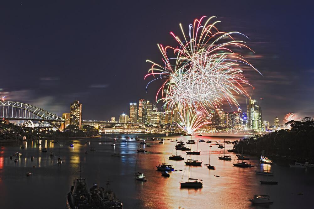 New Year fireworks at the Sydney harbour