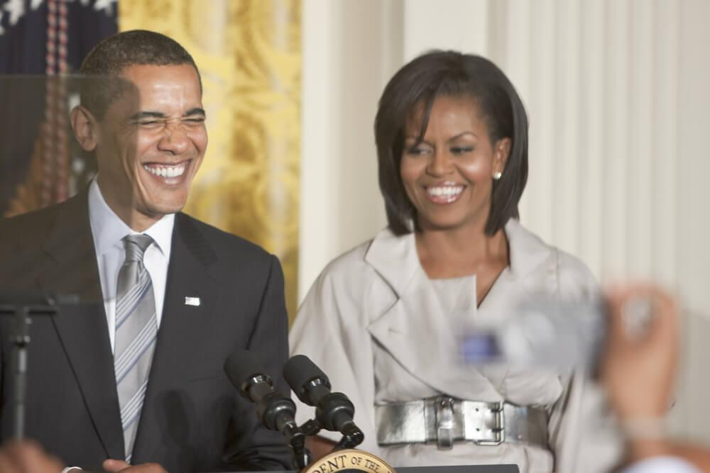 The Obamas making a speech