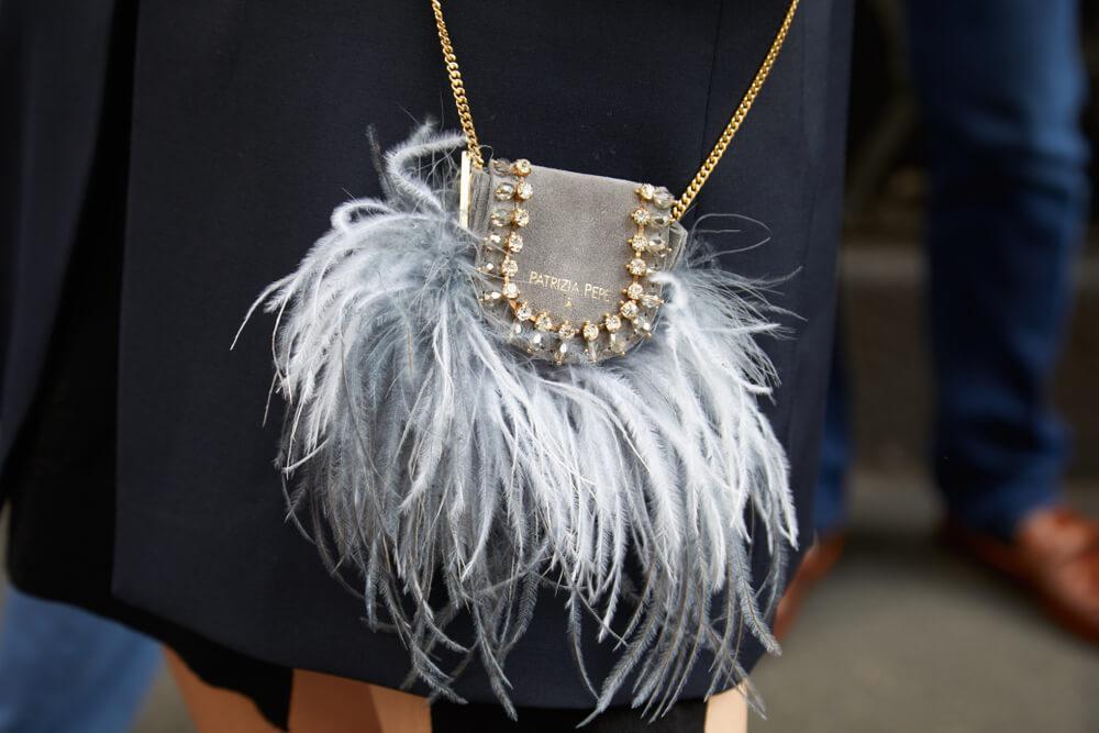 Feather handbag