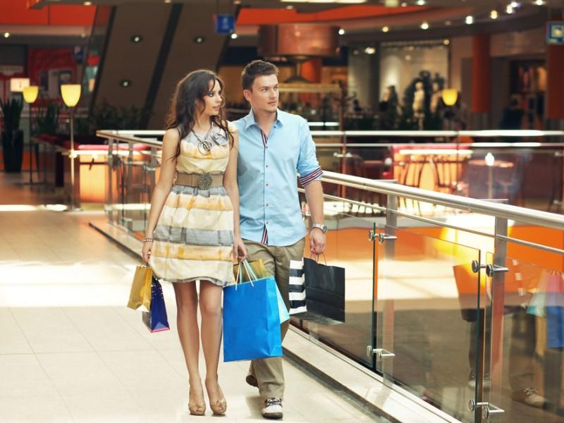 Couple shopping in a shopping mall.