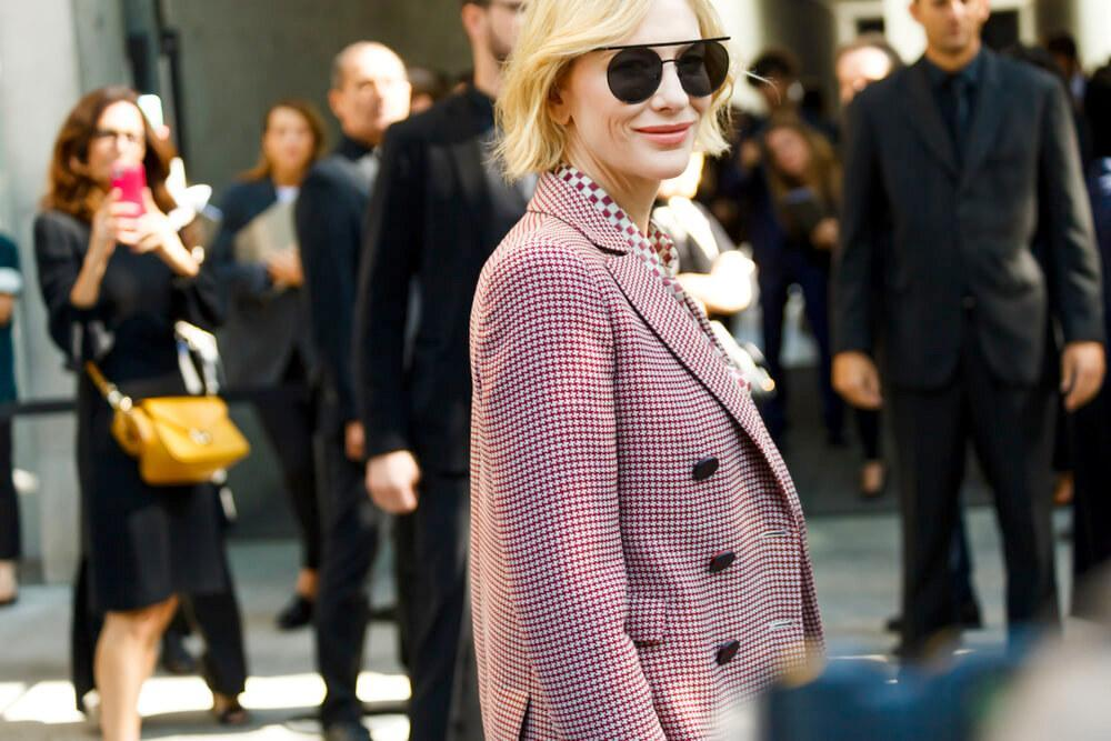MILAN, ITALY - SEPTEMBER 22: Actress Cate Blanchett before Georgio Armani fashion show at Milan Fashion Week Spring/Summer 2018.