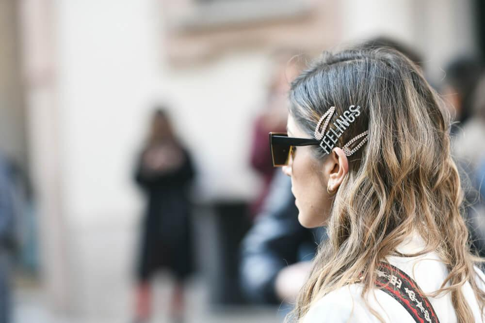 Woman with big hair clips